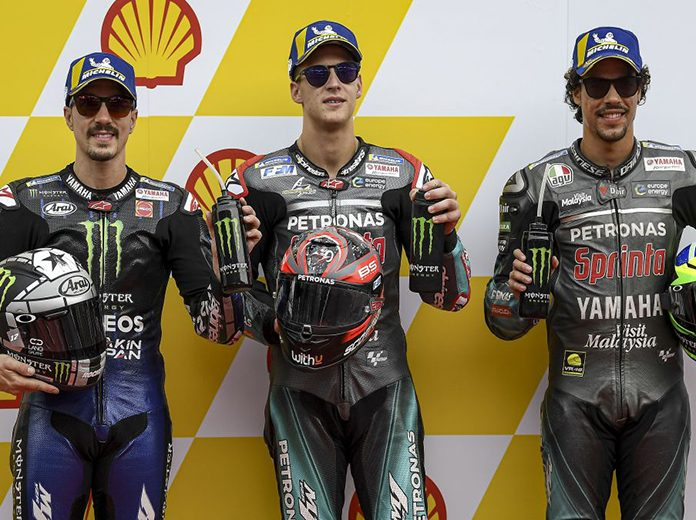 Fabio Quartararo (center) bested Maverick Vinales (left) and Franco Morbidelli (right) to earn the MotoGP pole at Sepang Int'l Circuit. (Yamaha Photo)