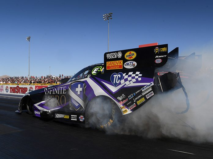 Jack Beckman claimed the No. 1 spot in NHRA Funny Car qualifying Saturday in Las Vegas. (NHRA Photo)