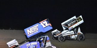Shane Golobic (17) battles Willie Croft at the Stockton Dirt Track. (Joe Shivak photo)