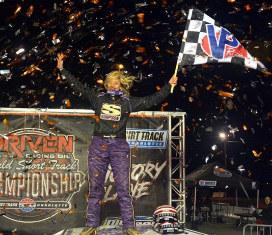 Brayden Pruitt became the first female driver to win a feature at The Dirt Track at Charlotte on Saturday during the World Short Track Championship.