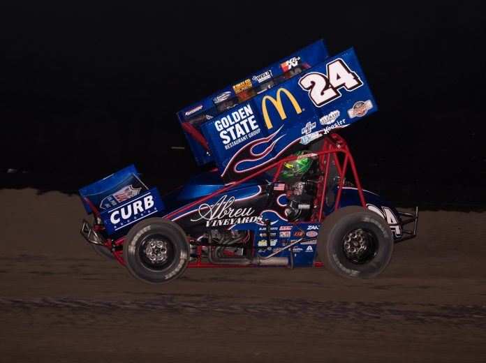 Rico Abreu at the Stockton Dirt Track. (Devin Mayo photo)