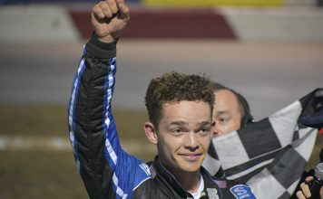 Cole Moore earned $10,000 for his victory Saturday at All-American Speedway. (Don Thompson Photo)