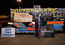 Shaun Harrell won the late model finale at Fayetteville Motor Speedway Saturday. (Hunter Thomas Photo)
