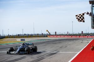 Valtteri Bottas takes the checkered flag to win Sunday's United States Grand Prix at Circuit of the Americas. (Mercedes Photo)