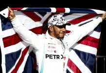 Lewis Hamilton celebrates after claiming his sixth Formula One championship Sunday at Circuit of the Americas. (Mercedes Photo)