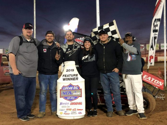 Frank Flud won a pair of features during Sunday's season finale for the Lucas Oil National Open Wheel 600 Series.