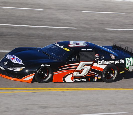 Mason Mingus collected the victory in Sunday's All American 400 at Fairgrounds Speedway Nashville. (David Sink Photo)