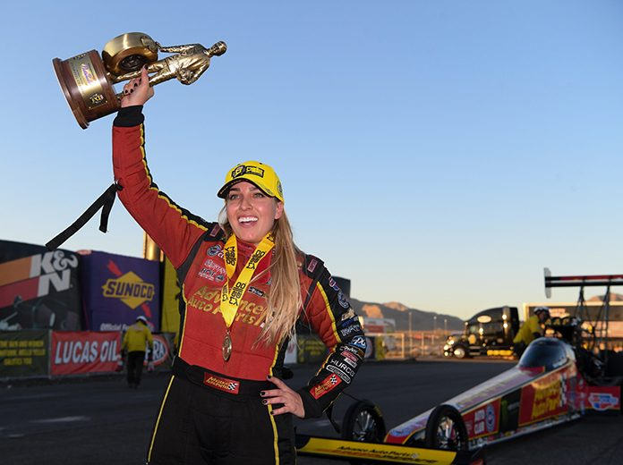 Brittany Force celebrates her NHRA Top Fuel win Sunday in Las Vegas. (NHRA Photo)