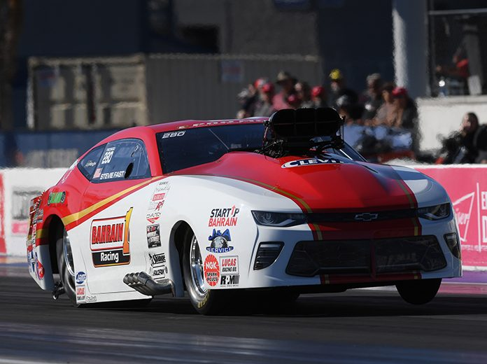 Stevie Jackson wrapped up the NHRA E3 Spark Plugs Pro Mod Series season with a win Sunday in Las Vegas. (NHRA Photo)
