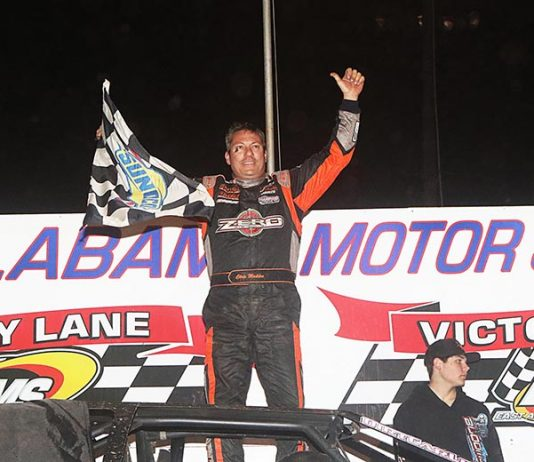Chris Madden banked $15,000 for winning the National 100 Sunday at East Alabama Motor Speedway. (RonSkinnerPhotos.com Photo)