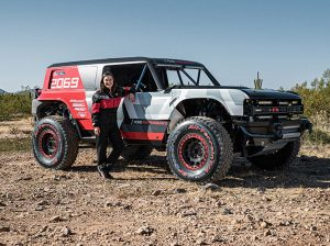 Shelby Hall, granddaughter of 1969 Baja 1,000 winner Rod Hall, will drive the Bronco R during the 2019 Baja 1,000. (Ford Photo)