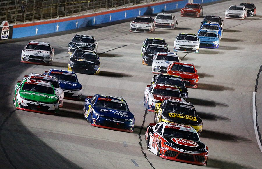 Christopher Bell (20) leads the pack during Saturday's NASCAR Xfinity Series race at Texas Motor Speedway. (HHP/Barry Cantrell Photo)