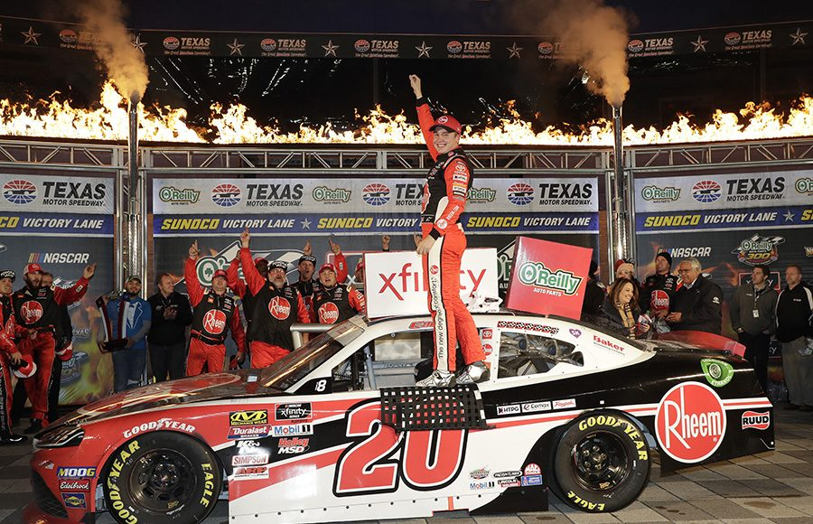 Christopher Bell celebrates in victory lane after winning Saturday's NASCAR Xfinity Series race at Texas Motor Speedway. (HHP/Harold Hinson Photo)