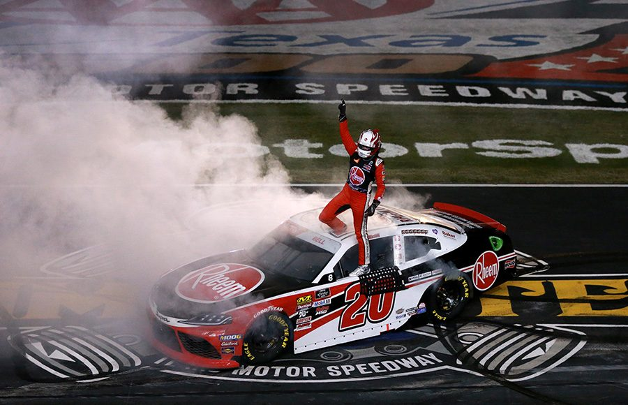 Christopher Bell celebrates on the frontstretch at Texas Motor Speedway after winning Saturday's NASCAR Xfinity Series race. (NASCAR Photo)