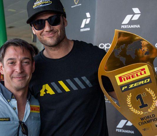 Chad Reed (right) earned a championship on four wheels recently behind the wheel of a Lamborghini Huracán Super Trofeo EVO. (IMSA Photo)