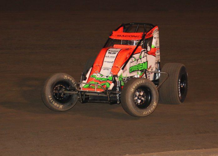 Brady Bacon en route to victory at California's Perris Auto Speedway. (Doug Allen photo)