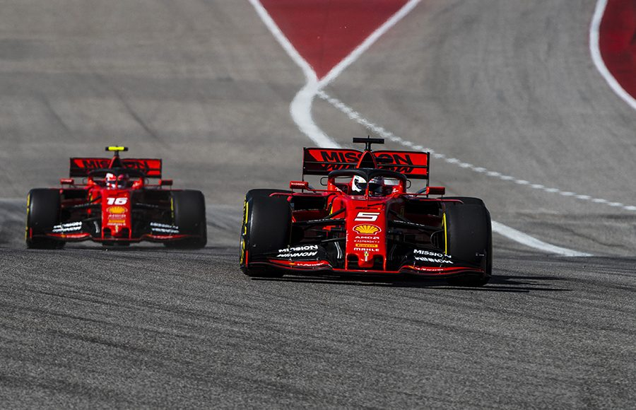 Sebastian Vettel (5) races ahead of Charles Leclerc during the United States Grand Prix. (Ferrari Photo)