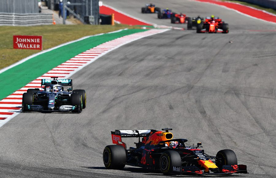 Max Verstappen (33) leads Lewis Hamilton during the United States Grand Prix. (Red Bull Photo)