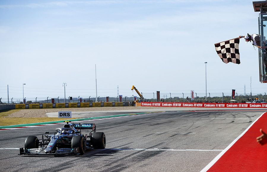 Valtteri Bottas crosses the finish line to win Sunday's United States Grand Prix. (Mercedes Photo)