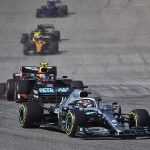 Lewis Hamilton (44) leads a pack of cars during Sunday's United States Grand Prix. (Steve Etherington Photo)