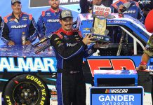 Stewart Friesen earned his second NASCAR Gander Outdoors Truck Series win of the season Friday at ISM Raceway. (Ivan Veldhuizen Photo)
