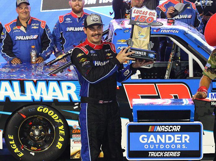 Stewart Friesen earned his second NASCAR Gander Outdoors Truck Series win of the season Friday at ISM Raceway. (Ivan Veldhuizen Photo)