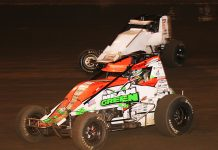 Brady Bacon (69) passes Bill Rose during Friday's Oval Nationals feature at Perris Auto Speedway. (Doug Allen Photo)