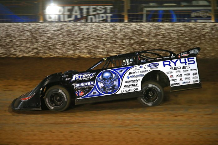 Scott Bloomquist on track during Thursday's portion of the Can-Am World Finals at The Dirt Track at Charlotte. (HHP/Jim Fluharty Photo)