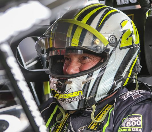 Brett Hearn sits in his car during Thursday's portion of the Can-Am World Finals at The Dirt Track at Charlotte. (Adam Fenwick Photo)