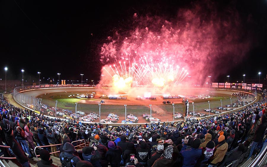 The annual four-wide salute featuring the Super DIRTcar Series, World of Outlaws Morton Buildings Late Model Series and World of Outlaws NOS Energy Drink Sprint Car Series is always a fan favorite during the Can-Am World Finals. (Frank Smith Photo)