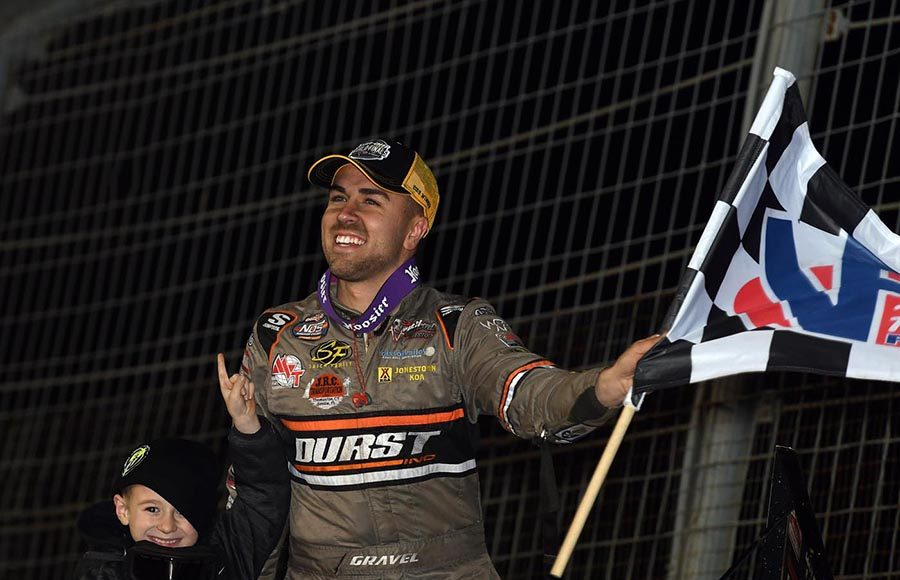 David Gravel celebrates after winning Friday's World of Outlaws NOS Energy Drink Sprint Car Series feature at The Dirt Track at Charlotte. (Frank Smith Photo)