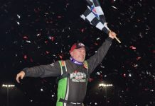 Jimmy Owens celebrates after winning Saturday's World of Outlaws Morton Buildings Late Model Series finale at The Dirt Track at Charlotte. (Jacob Seelman Photo)