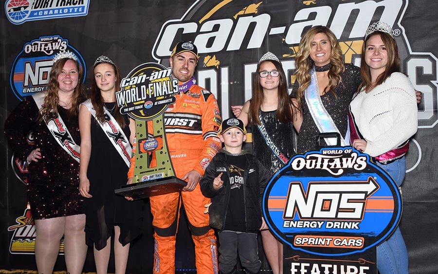 David Gravel poses in victory lane after winning Saturday's World of Outlaws NOS Energy Drink Sprint Car Series finale at The Dirt Track at Charlotte. (Frank Smith Photo)