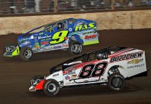 Mat Williamson (88) battles championship rival Matt Sheppard during Saturday's Super DIRTcar Series feature at The Dirt Track at Charlotte. (Jim Denhamer Photo)