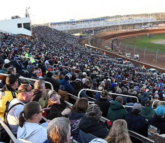 Fans packed the grandstands for the final night of the Can-Am World Finals at The Dirt Track at Charlotte on Saturday. (Frank Smith Photo)