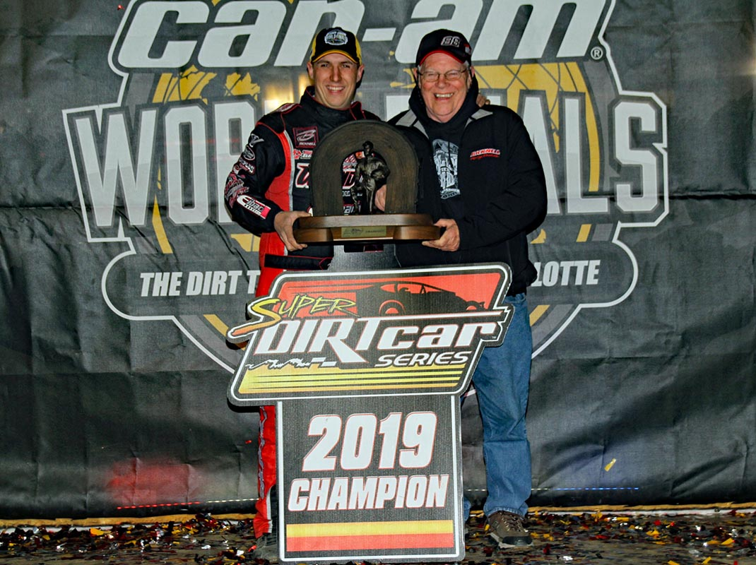 Super DIRTcar Series champion Mat Williamson (left) with team owner Buzz Chew. (Jim Denhamer Photo)