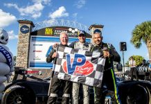 Jonatan Jorge, Joel Janco and Tristan Nunez captured the Michelin IMSA SportsCar Encore on Sunday at Sebring Int'l Raceway. (IMSA Photo)
