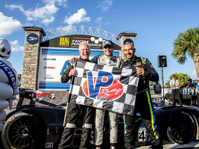 Jonatan Jorge, Joel Janco and Tristan Nunez captured the Michelin IMSA SportsCar Encore on Sunday at Sebring Int'l Raceway. (IMSA Photo)