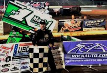 Mark Smith in victory lane at the Talladega Short Track on Sunday night. (USCS Photo)