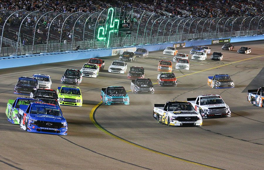 The NASCAR Gander Outdoors Truck Series field takes the green flag Friday night at ISM Raceway. (Ivan Veldhuizen Photo)