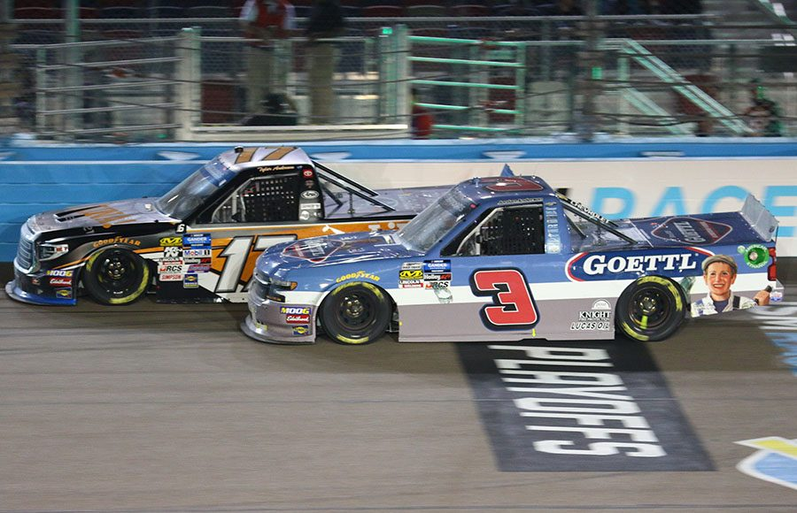 Jordan Anderson (3) races to the inside of Tyler Ankrum during Friday's NASCAR Gander Outdoors Truck Series Lucas Oil 150 at ISM Raceway. (Ivan Veldhuizen Photo)
