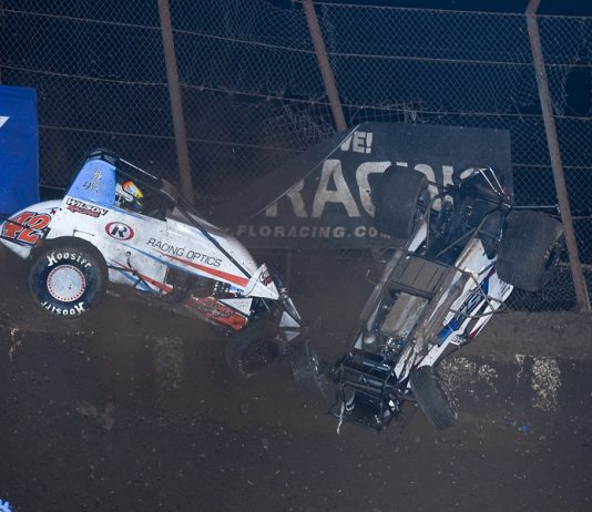 Jason McDougal (42) and Sterling Cling both went for wild rides during Thursday's opening night of the Budweiser Oval Nationals at Perris Auto Speedway. (John DaDalt photo)