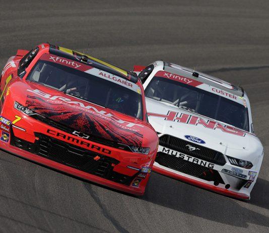 Justin Allgaier (7) battles Cole Custer during Saturday's NASCAR Xfinity Series race at ISM Raceway. (HHP/Garry Eller Photo)