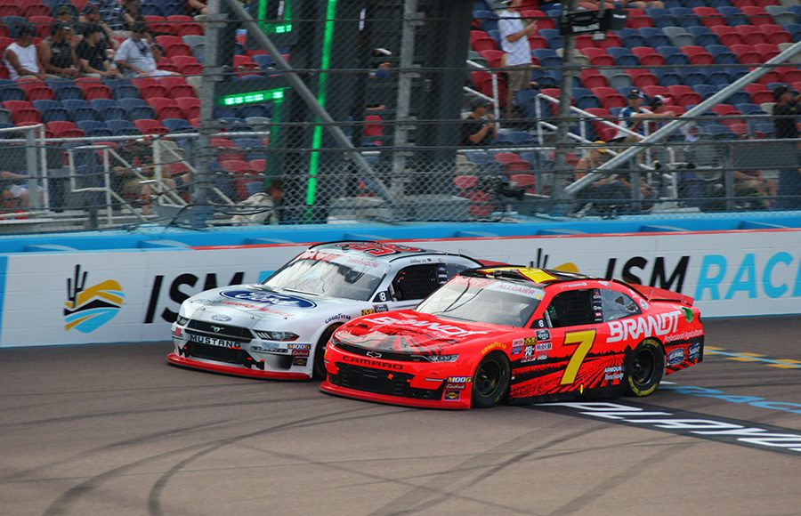 Justin Allgaier (7) battles Chase Briscoe during Saturday's NASCAR Xfinity Series race at ISM Raceway. (Ivan Veldhuizen Photo)