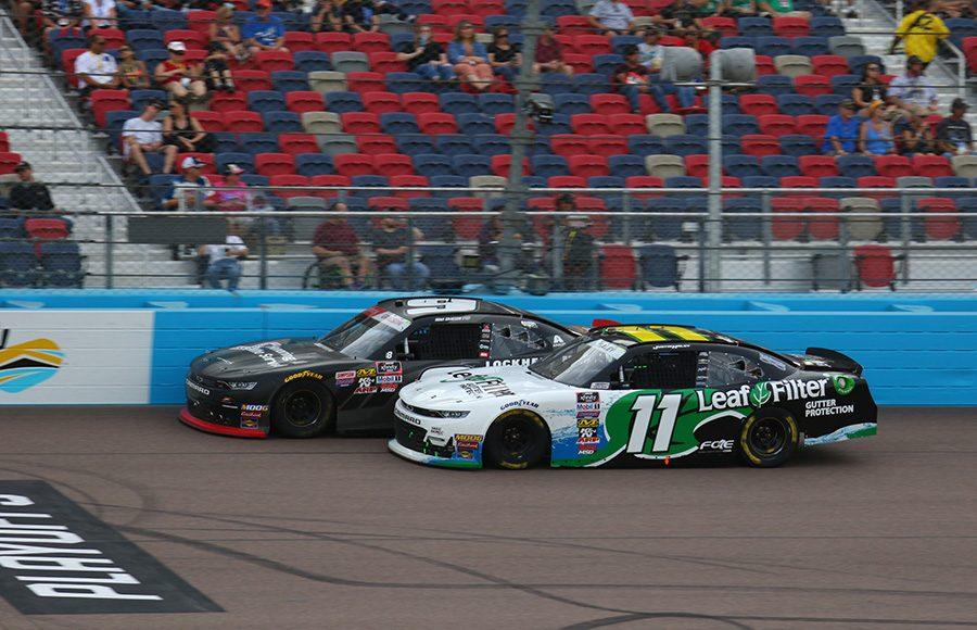 Noah Gragson (9) races alongside Justin Haley during Saturday's NASCAR Xfinity Series race at ISM Raceway. (Ivan Veldhuizen Photo)