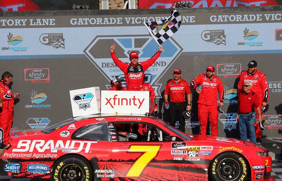 Justin Allgaier celebrates in victory lane after winning Saturday's NASCAR Xfinity Series race at ISM Raceway. (Ivan Veldhuizen Photo)