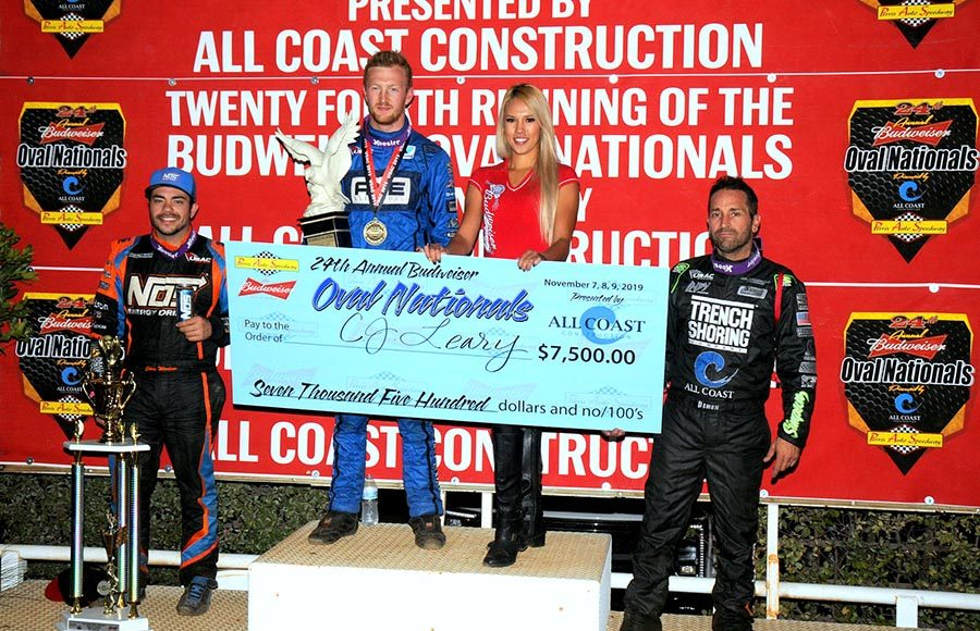 C.J. Leary (center) bested Chris Windom (left) and Damion Gardner (right) to win the 2019 Oval Nationals Saturday at Perris Auto Speedway. (Hein Brothers Photo)