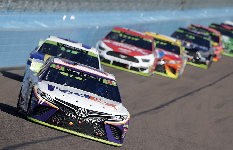 Denny Hamlin (11) leads the way during Sunday's Monster Energy NASCAR Cup Series event at ISM Raceway (HHP/Garry Eller Photo)