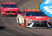 Matt DiBenedetto (95) races ahead of Daniel Suarez during Sunday's Monster Energy NASCAR Cup Series race at ISM Raceway. (Ivan Veldhuizen Photo)