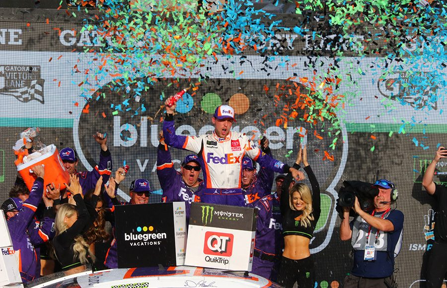 Denny Hamlin celebrates in victory lane after winning Sunday's Monster Energy NASCAR Cup Series race at ISM Raceway. (Ivan Veldhuizen Photo)